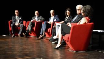 Von links: Hannes Germann, Moderator, und SGV-Direktor Reto Lindegger, Thomas Bretscher, Barbara Horlacher, Martin Schläpfer und Edna Epelbaum.