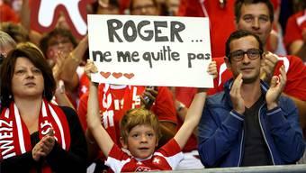 «Roger... verlasse mich nicht»: Haben Roger Federer, Stan Wawrinka und Captain Severin Lüthi an diesem Wochenende in Genf ihre Abschiedsvorstellung im Schweizer Davis-Cup-Team gegeben?Keystone