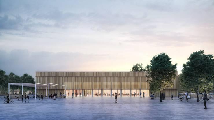 Der Entwurf des Zürcher Büros NYX Architectes: Bis zu 1400 Menschen sollen in der Turnhalle und der dazugehörenden Mehrzweckhalle Platz haben.