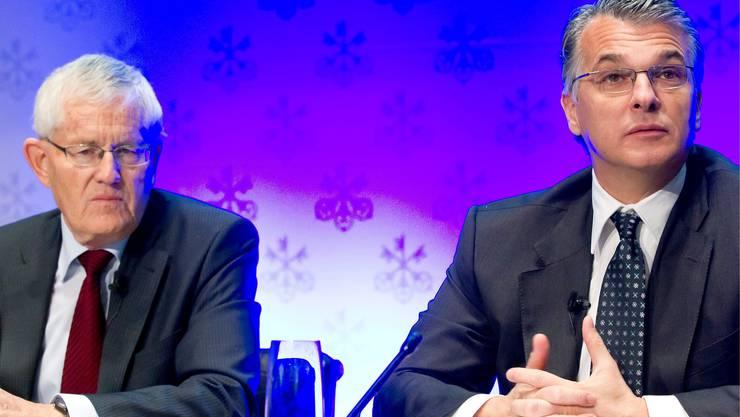 Alte Zeiten: Im November 2011 informiert der damalige UBS-Präsident Kaspar Villiger die Öffentlichkeit über Sergio Ermottis definitive Berufung zum CEO.