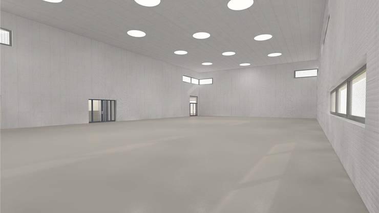 Visualisierung: So soll die geplante dritte Turnhalle einst von innen aussehen. Der Neubau soll 6,5 Millionen Franken kosten. zvg