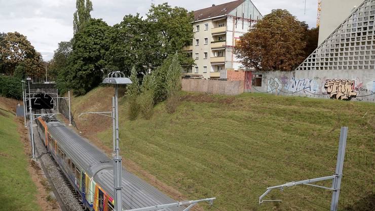 Der Zug verschwindet beim Morgartenring in Richtung Elsass im Tunnel.