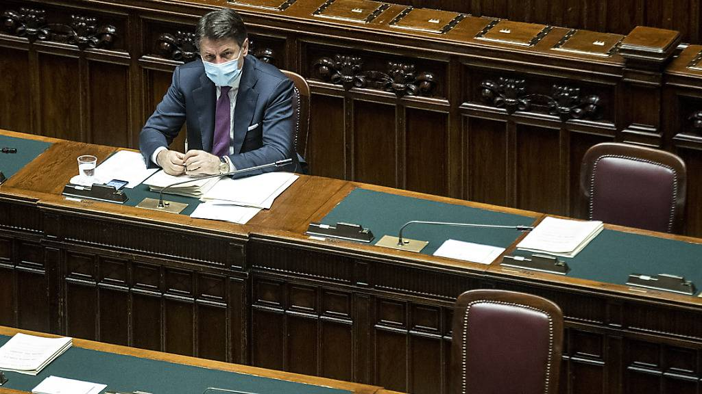 Giuseppe Conte, Ministerpräsident von Italien, vergangene Woche im Parlament. Foto: Roberto Monaldo/LaPresse/AP/dpa