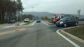 Die neue Signalisation an der A1-Ausfahrt Aarau Ost in Hunzenschwil: Neu sind es zwei Spuren – die Vortrittsregelung hat sich allerdings nicht geändert.