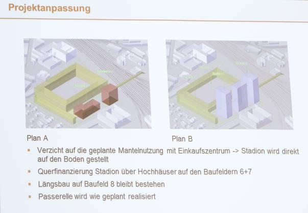DieseVisualisierung mit den beiden möglichen Varianten zum Stadionneubau wurdeam 1. Mai an der Medienorientierung zum geplanten Stadion Torfeld Süd präsentiert.