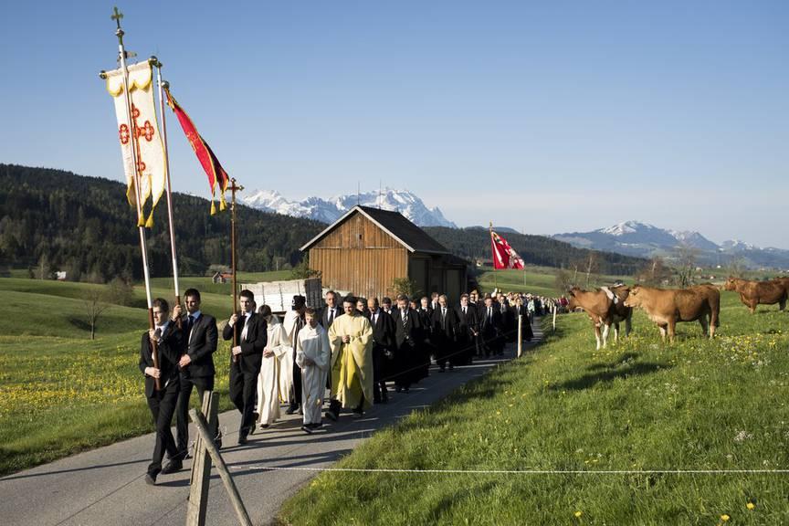 Die Appenzeller auf der Stosswallfahrt. (Bild: Keystone/Gian Ehrenzeller)