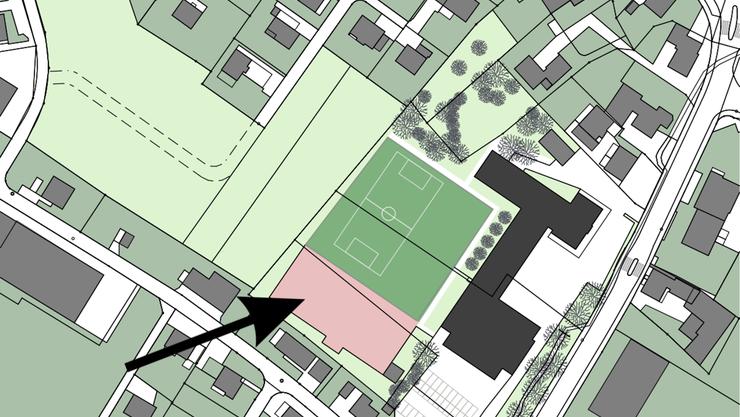 Der Kindergarten wird dort platziert, wo heute der rote Platz liegt. Dieser wird verschoben.