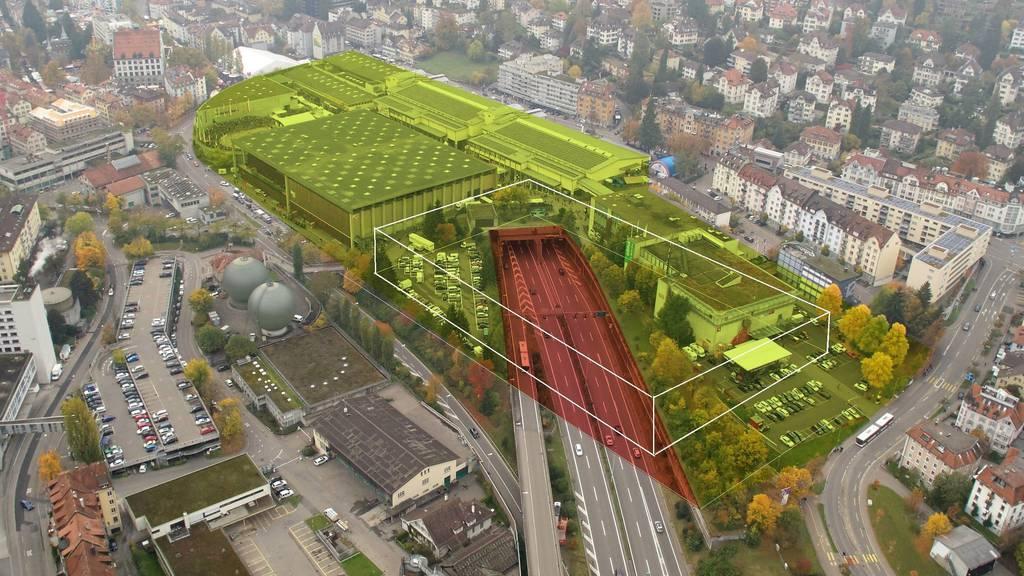 Damit das Olma-Areal erweitert werden kann, soll ein Teil der Autobahn überdacht werden.