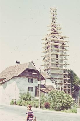 Bau des alten Kirchturms