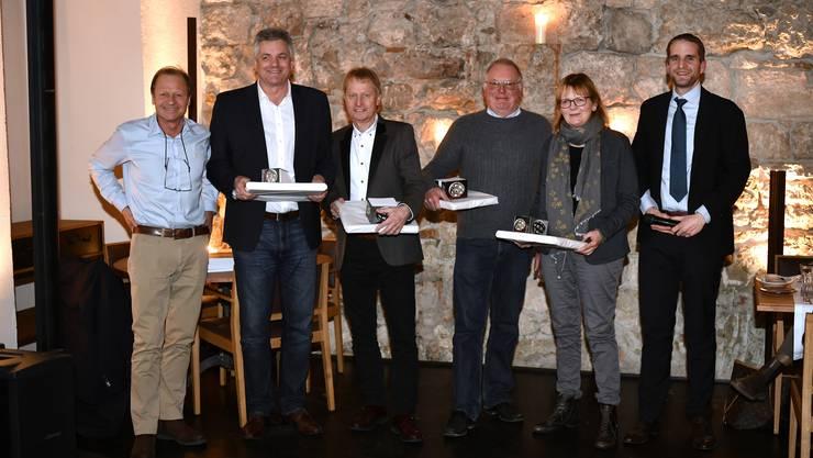 Marc Reist, Bruno Morandi von Prime Vision AG, René Bourquin, Leiter Marketing Food, Migros, Hans-Ulrich Müller, Bio-Landwirt, Trudi Lädrach von der ARTis Galerie und Moderator Simon Eberhard.