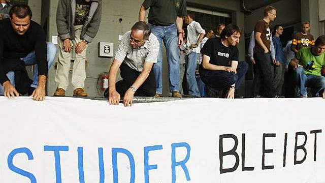 Studer-Mitarbeiter protestieren (Archiv)