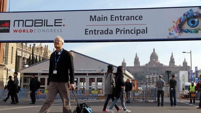 Das Tor zur mobilen Elektronikwelt: Eingang des Mobile World Congress in Barcelona