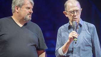 Viktor Giacobbo, rechts, und Mike Mueller, links: Die beiden Kabarettisten werden sich den Wohnwagen nicht teilen, wenn sie gemeinsam mit dem Circus Knie auf Tournee gehen.