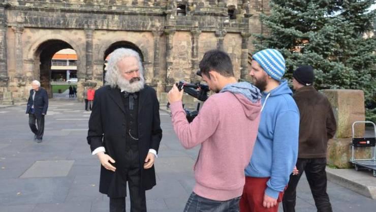 Dreharbeiten für den Trailer zum Karl-Marx-Jahr der Stadt Trier mit 300 Veranstaltungen. (Pressebild)