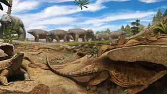 Die Urzeit-Schildkröte Eutonosaurus (im Vordergrund) grub sich vermutlich Höhlen im Untergrund, um den harschen Bedingungen Südafrikas vor 260 Millionen Jahren zu entgehen. (Künstlerische Darstellung)
