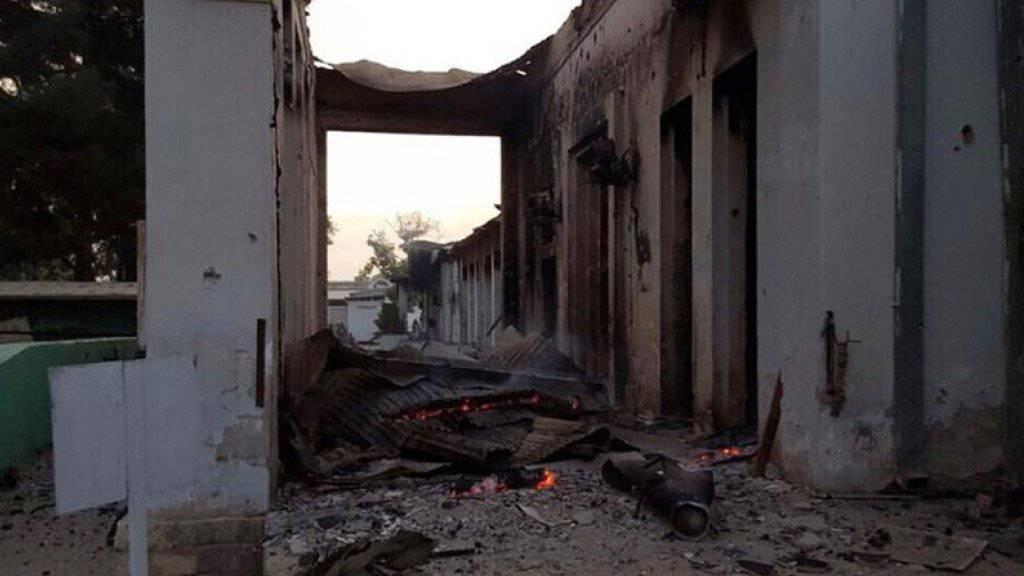 Das zerstörte Gebäude der Organisation MSF.