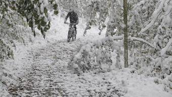 Auch Sport im Schneetreiben kann schön sein: Ein Biker ist in der Fricktaler Gemeinde Herznach unterwegs.Silvan Hartmann