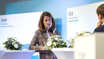 Parteipräsidentin Petra Gössi an der digitalen Delegiertenversammlung der FDP.