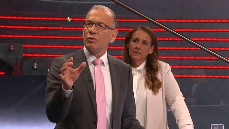 Im Bild: Hannes Germann (Ständerat SVP/SH und Jacqueline Badran (Nationalrätin SP/ZH)