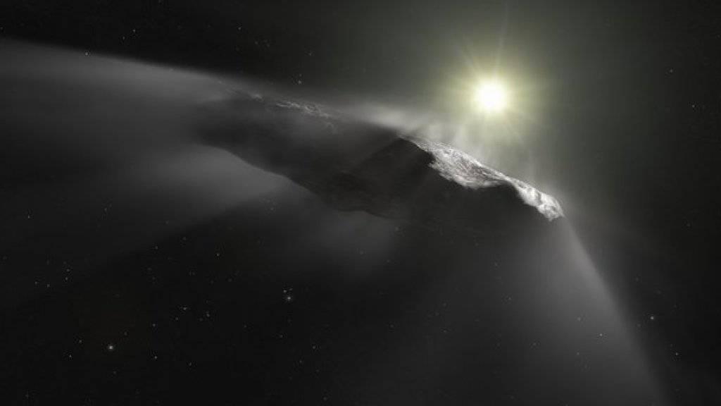 Künstlerische Impression des Kometen Oumuamua, des ersten interstellaren Besuchers in unserem Sonnensystem. Nun ist ein zweiter solcher fremder Wanderer zu Besuch gekommen: der Komet C/2019 Q4. (Archivbild)