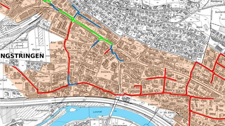 Von Weiningen über die Zürcherstrasse herkommend, wurde der erste Teil der Fernwärme-Hauptleitung bereits 2018 verlegt (grün). Von dort verläuft sie nach Süden über die Büelstrasse in die Dorfstrasse. Weiter östlich kreuzt sie die Weiningerstrasse und führt über die Hönggerstrasse weiter nach Oberengstringen. Alle blauen Teile sollen noch 2019 erstellt werden, alle roten Teile folgen 2020.