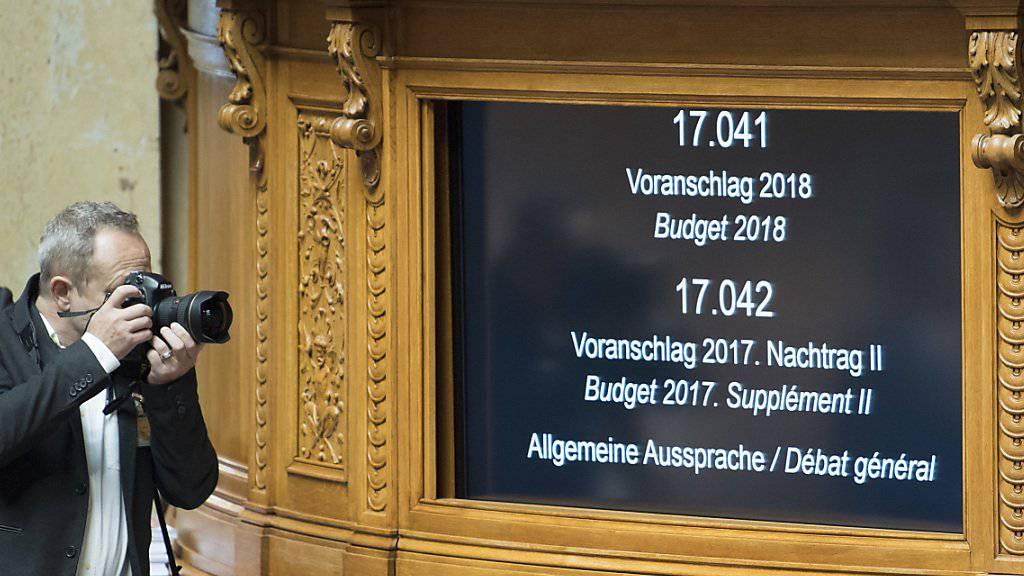 Bleibt auch in den kommenden Tagen im Fokus der Wintersession: Der Streit ums Bundesbudget 2018. (Archiv)