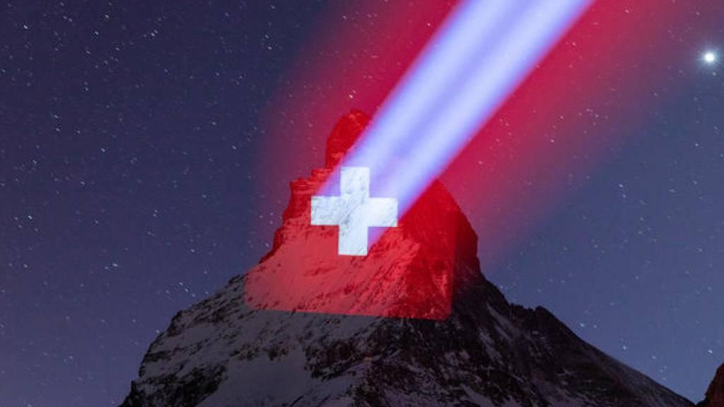 Das Matterhorn wird beleuchtet als Zeichen der Hoffnung