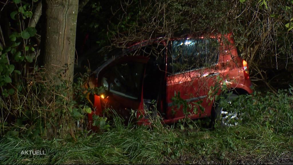 25-jähriger Autofahrer prallt in Dottikon in Baum