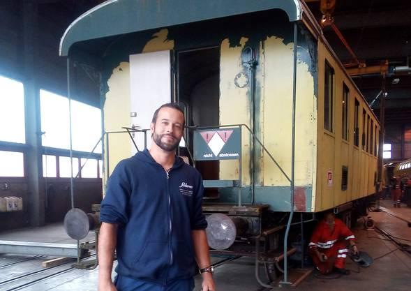 Patrick Bigler vom historischen Erbe der Wagonsfabrik Schlieren SWS. © zvg