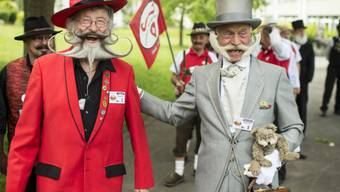 Einige der Teilnehmer an der Bart- und Schnauz-Europameisterschaft