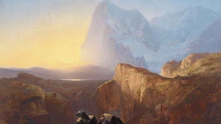 Romantik pur. Der hellen Sehnsucht droht immer auch das Dunkle: Alexandre Calame, Le Grand Eiger au soleil levant(Le matin, vue du Grand Eiger), 1844.