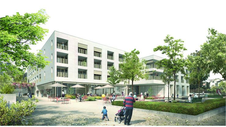 Um einen öffentlichen Platz vor dem Zentrum zu schaffen, soll das Hauptgebäude deutlich weiter weg von der Schönbergstrasse zu stehen kommen.