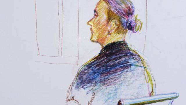 Gerichtszeichnung des Vaters von Wila (Illustration Linda Graedel)