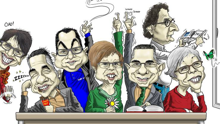 Von links: Daniela Berger, Matthias Gotter, Roger Huber, Ruth Müri, Markus Schneider (Vizeammann), Geri Müller (Stadtammann), Regula Dell'Anno.