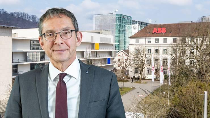 Urs Hofmann vor dem ABB-Schweiz-Hauptsitz in Baden. (Montage)