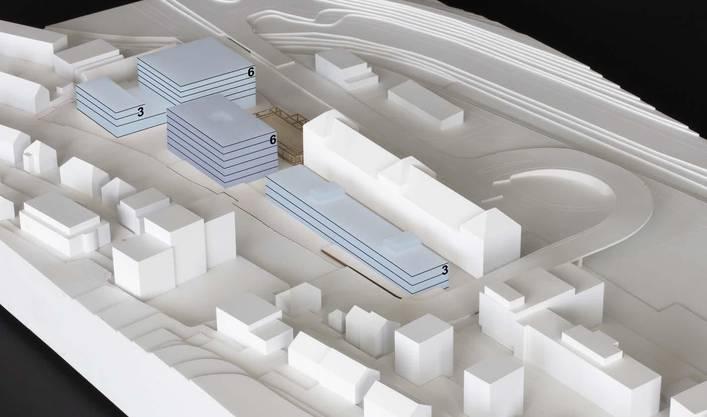 Blick Richtung Südosten über das Usego-Gelände: Die Zahlen entsprechen der Geschossigkeit der jeweiligen Gebäude.