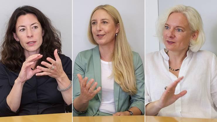 Die Regierungskandidatinnen Tanja Soland (SP), Katja Christ (GLP), Nadine Gautschi (FDP) im Dreifachinterview.