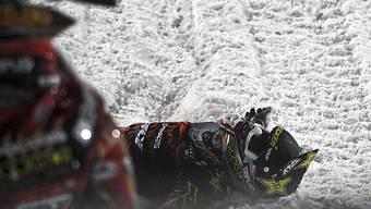Schneemobil-Fahrer Caleb Moore nach seinem Unfall.