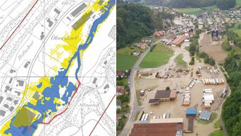 Gefahrenkarte und tatsächliche Überschwemmung am Beispiel der Gemeinde Uerkheim.