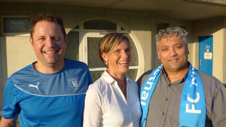 v.l. Jeanclaude Allemann neues Ehrenmitglied; Claudine Allemann neues Freimitglied; Gino Furcillo Präsident