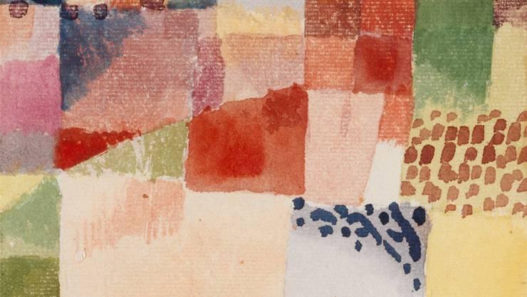 Klees Bild ist ein Aquarell, kombiniert mit Bleistift auf Papier, das auf Karton aufgezogen ist.