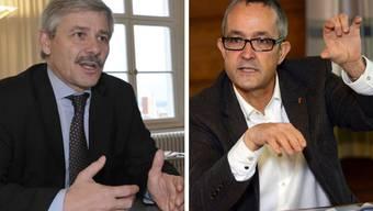 Die Gesundheitsdirektoren der beiden Basel (v.l.: Thomas Weber und Carlo Conti) wollen eine gemeinsame Auslegeordnung für die Gesundheitskooperation.
