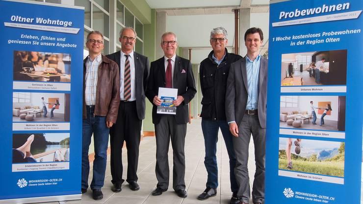 Markus Dietler, Christoph Kunz, Ernst Zingg, Markus Ehrat und Christian Gressbach (v.l.) äusserten sich zur Wohnregion Olten.