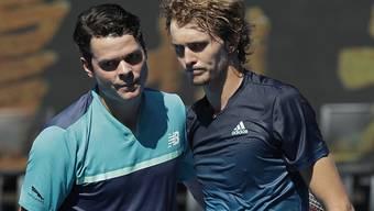 Überraschung in der Rod Laver Arena: Milos Raonic (li.) schaltete die Weltnummer 4 Alexander Zverev in den Achtelfinals des Australian Open aus
