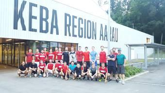 Die durchmischten Teams der 1. Liga Argovia Stars (Eishockey) und dem Team Aarau (Unihockey).