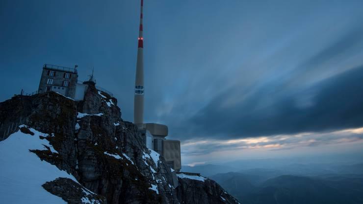 Ein exponierter Berg: Bis zu 400 Blitze werden pro Jahr am Säntis registriert.