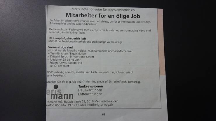 Das «Mitarbeiter für ölige Job»-Inserat.