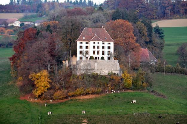 Das Schloss steht nordöstlich des Dorfzentrums auf einer Hügelkuppe. Im Frühling 2018 wurde die jüngste Sanierung abgeschlossen.