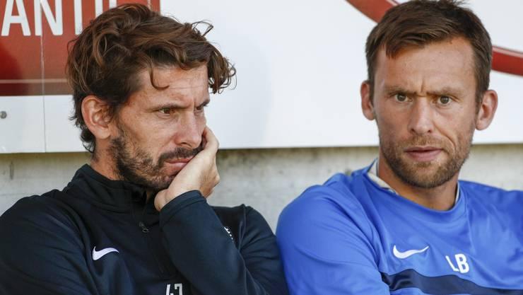 Goalietrainer Lorenzo Bucchi (rechts) verlässt den FC Aarau in Richtung Luzern