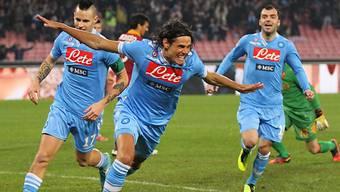 Napoli (Bild: Edinson Cavani) neu Tabellenzweiter in der Serie A.